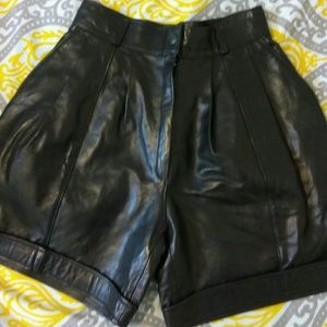 Wide leg Vintage leather shorts